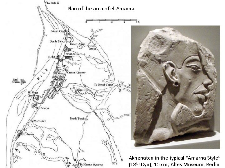 """Plan of the area of el-Amarna Akhenaten in the typical """"Amarna Style"""" (18 th"""