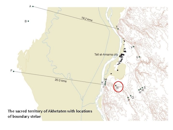 The sacred territory of Akhetaten with locations of boundary stelae