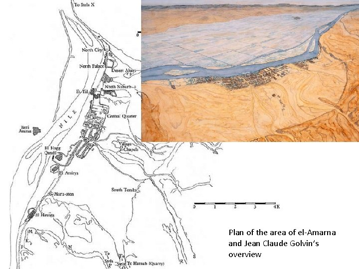 Plan of the area of el-Amarna and Jean Claude Golvin's overview