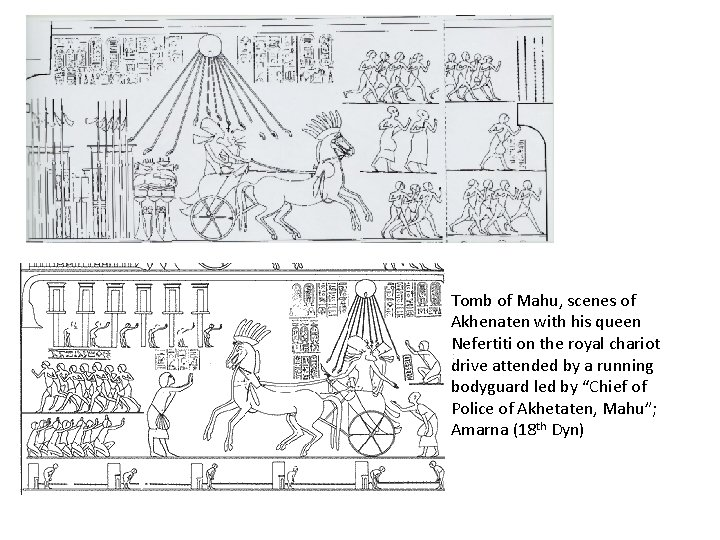 Tomb of Mahu, scenes of Akhenaten with his queen Nefertiti on the royal chariot