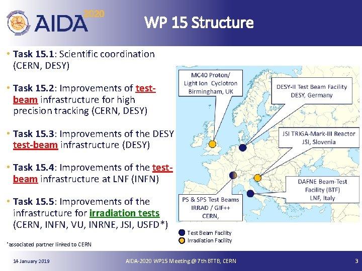 WP 15 Structure • Task 15. 1: Scientific coordination (CERN, DESY) • Task 15.