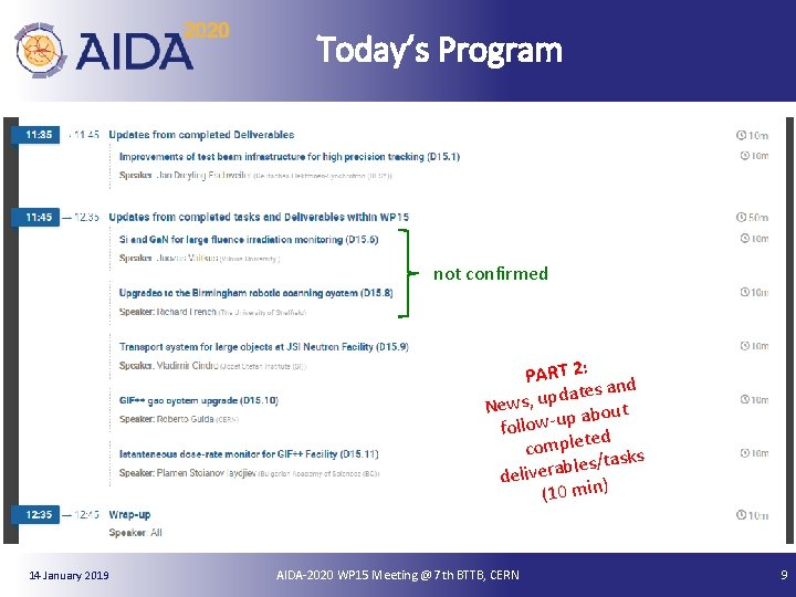 Today's Program not confirmed PART 2: nd ates a d p u , s