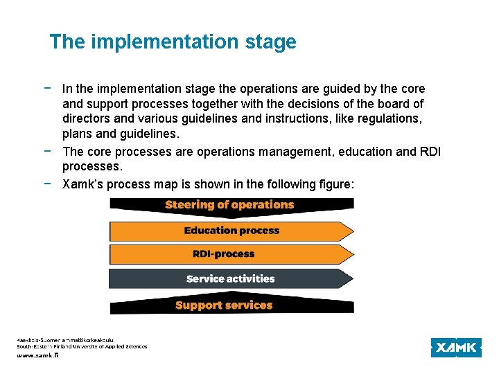 The implementation stage − In the implementation stage the operations are guided by the