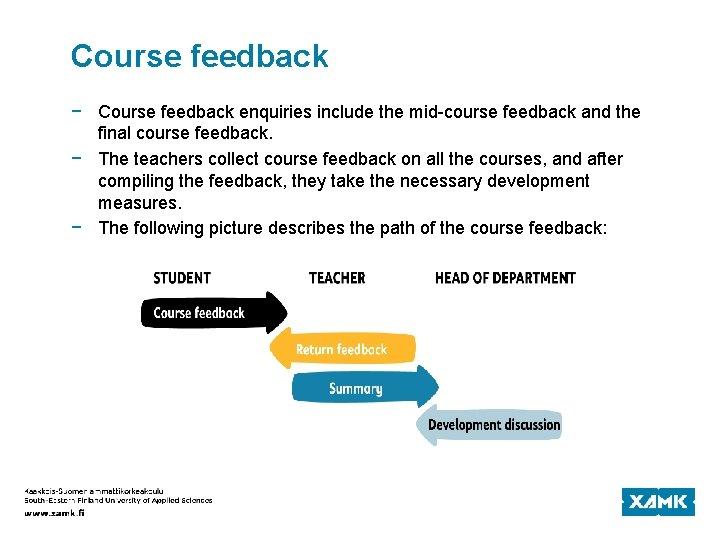 Course feedback − Course feedback enquiries include the mid-course feedback and the final course