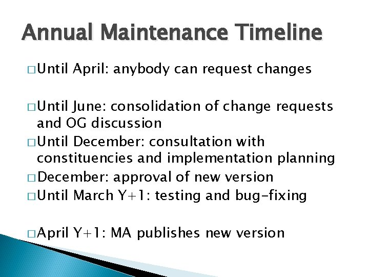 Annual Maintenance Timeline � Until April: anybody can request changes � Until June: consolidation