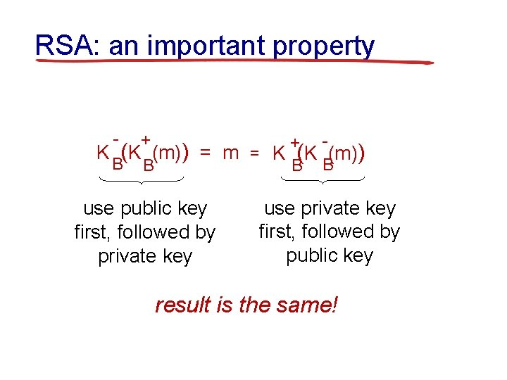 RSA: an important property - + + K (K (m)) = m = K