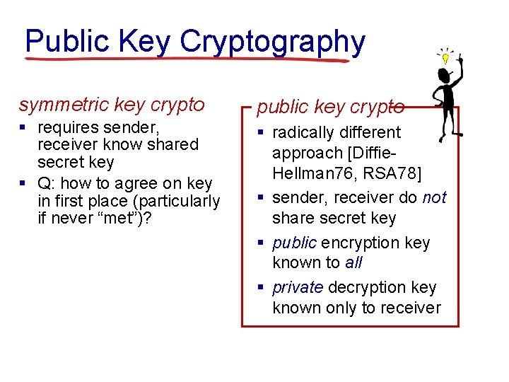 Public Key Cryptography symmetric key crypto public key crypto § requires sender, receiver know