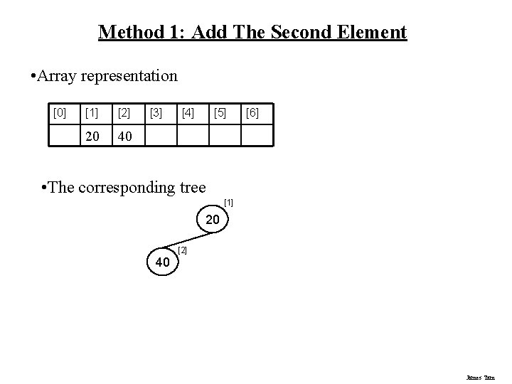 Method 1: Add The Second Element • Array representation [0] [1] [2] 20 40
