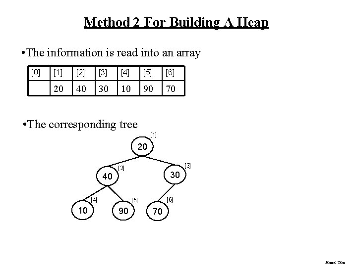 Method 2 For Building A Heap • The information is read into an array