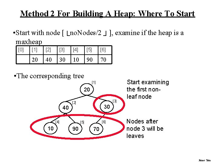 Method 2 For Building A Heap: Where To Start • Start with node [└no.