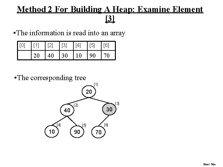 Method 2 For Building A Heap: Examine Element [3] • The information is read