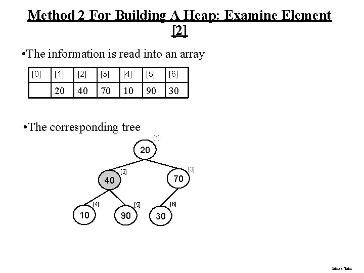 Method 2 For Building A Heap: Examine Element [2] • The information is read