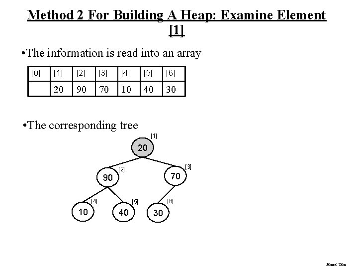 Method 2 For Building A Heap: Examine Element [1] • The information is read