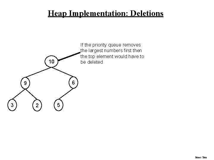 Heap Implementation: Deletions If the priority queue removes the largest numbers first then the