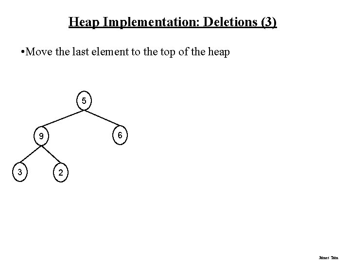Heap Implementation: Deletions (3) • Move the last element to the top of the