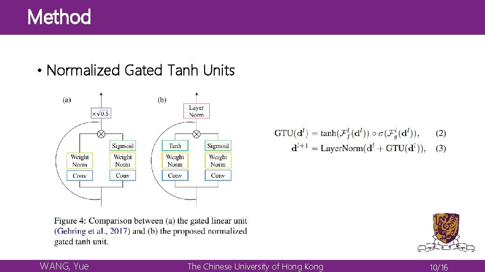 Method • Normalized Gated Tanh Units WANG, Yue The Chinese University of Hong Kong