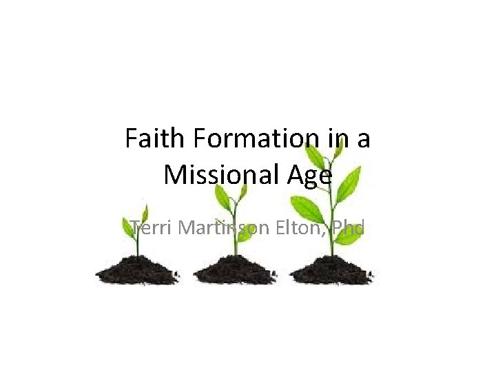 Faith Formation in a Missional Age Terri Martinson Elton, Phd