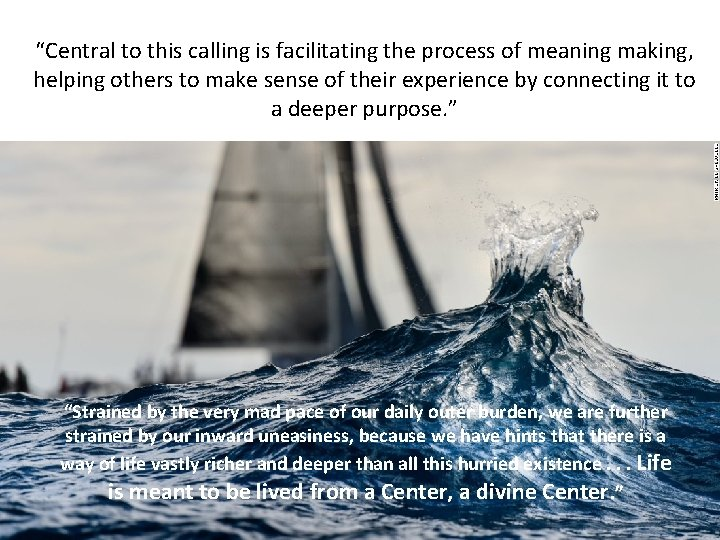 """""""Central to this calling is facilitating the process of meaning making, helping others to"""