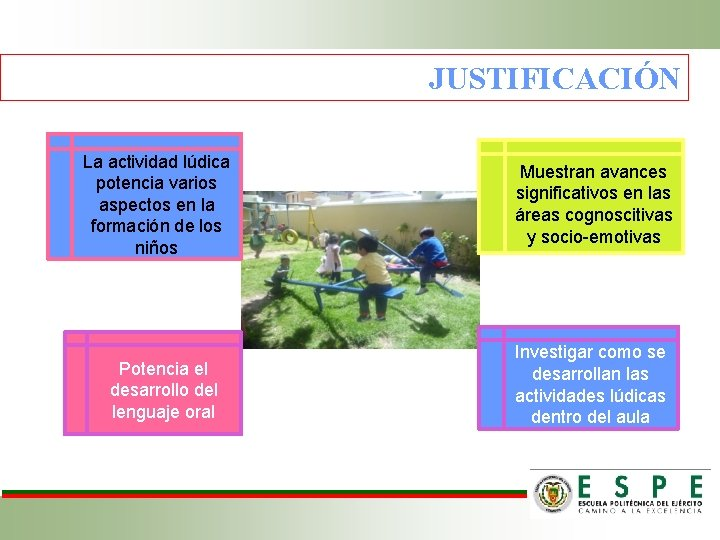 JUSTIFICACIÓN La actividad lúdica potencia varios aspectos en la formación de los niños Potencia