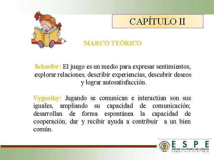 CAPÍTULO II MARCO TEÓRICO Schaefer: El juego es un medio para expresar sentimientos, explorar
