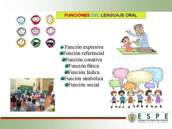 FUNCIONES DEL LENGUAJE ORAL Función expresiva Función referencial Función conativa Función fática Función lúdica