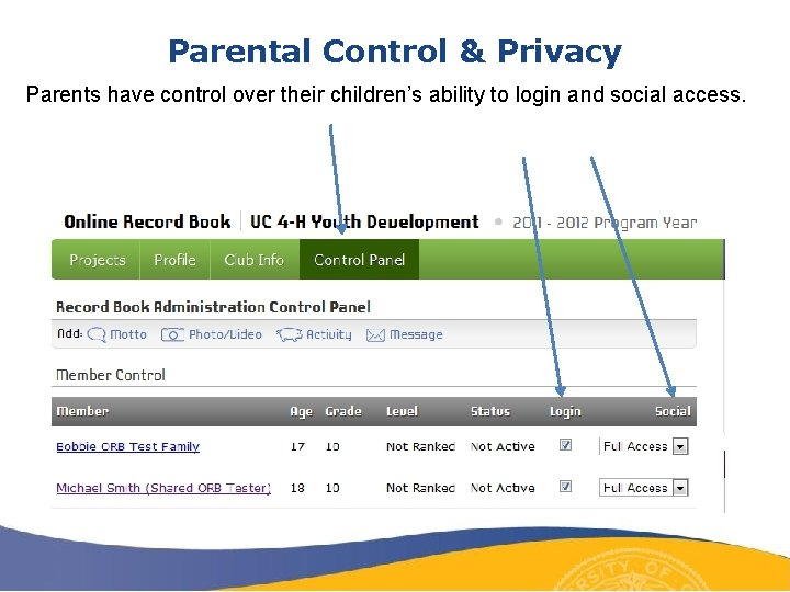 Parental Control & Privacy Parents have control over their children's ability to login and