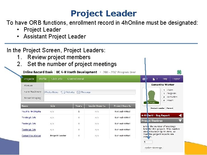 Project Leader To have ORB functions, enrollment record in 4 h. Online must be