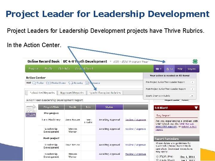 Project Leader for Leadership Development Project Leaders for Leadership Development projects have Thrive Rubrics.