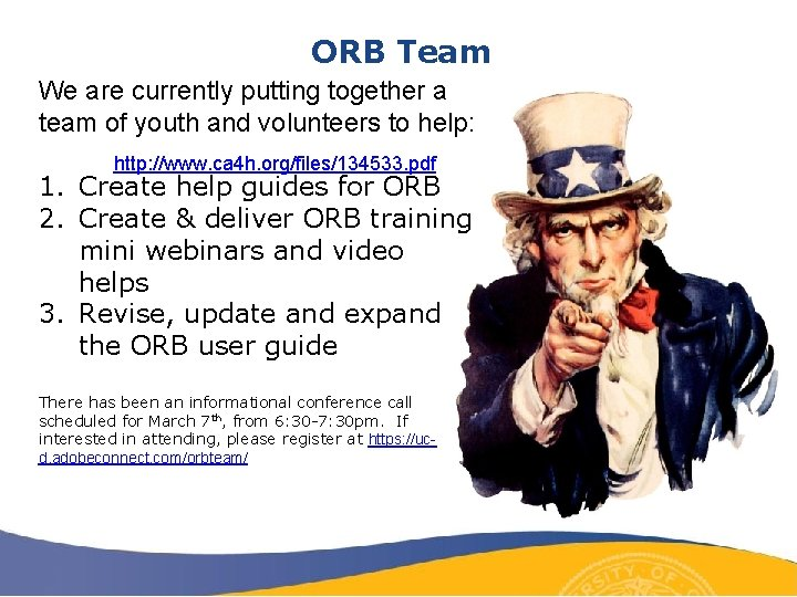 ORB Team We are currently putting together a team of youth and volunteers to