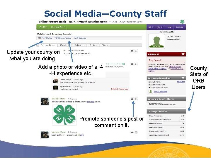Social Media—County Staff Update your county on what you are doing. Add a photo