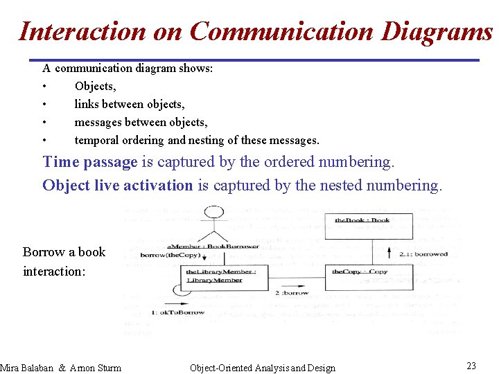 Interaction on Communication Diagrams A communication diagram shows: • Objects, • links between objects,
