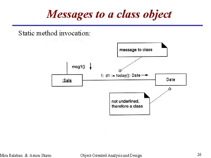 Messages to a class object Static method invocation: Mira Balaban & Arnon Sturm Object-Oriented