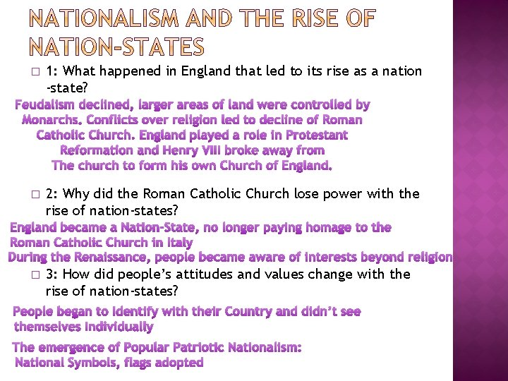 � 1: What happened in England that led to its rise as a nation