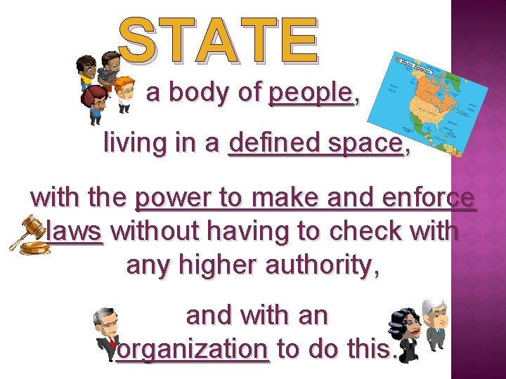 STATE a body of people, living in a defined space, with the power to
