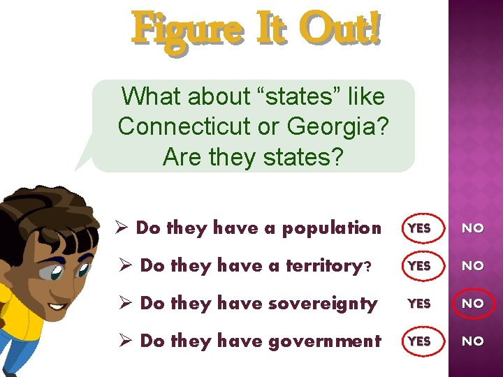 """Figure It Out! What about """"states"""" like Connecticut or Georgia? Are they states? Ø"""