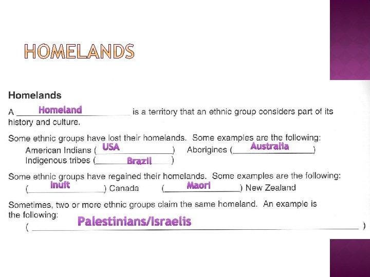 Homeland Australia USA Brazil Inuit Maori Palestinians/Israelis