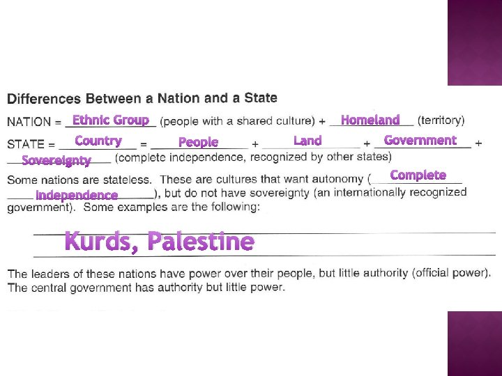 Ethnic Group Country Homeland People Land Government Sovereignty Complete Independence Kurds, Palestine