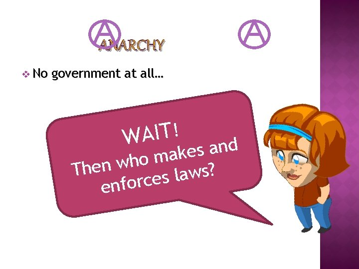 ANARCHY v No government at all… ! T I A W d n a