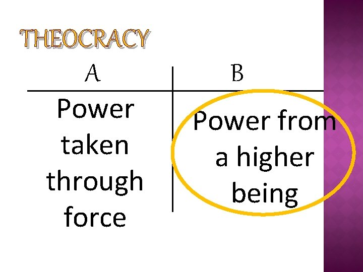 THEOCRACY A Power taken through force B Power from a higher being