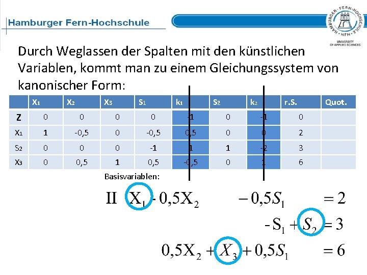 Durch Weglassen der Spalten mit den künstlichen Variablen, kommt man zu einem Gleichungssystem von