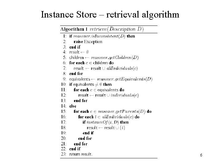 Instance Store – retrieval algorithm 6