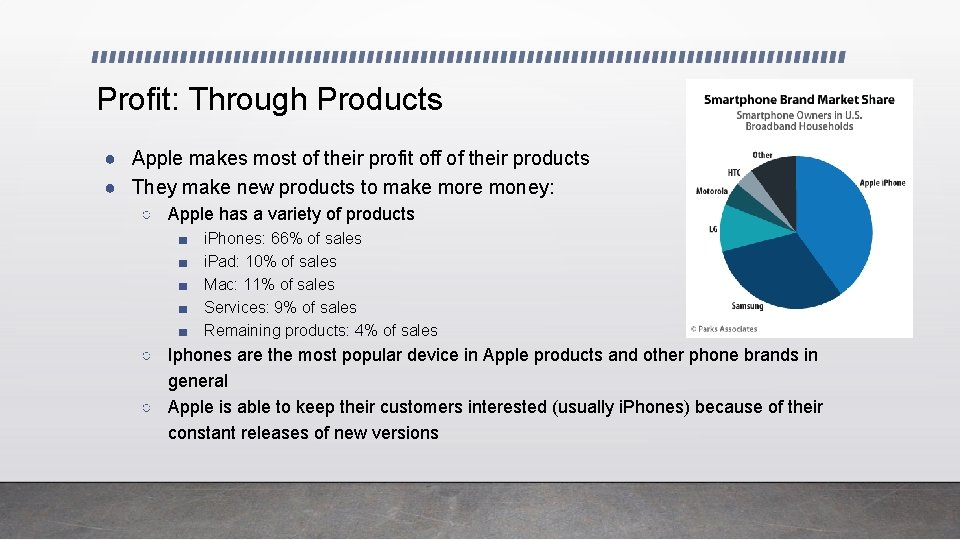 Profit: Through Products ● Apple makes most of their profit off of their products