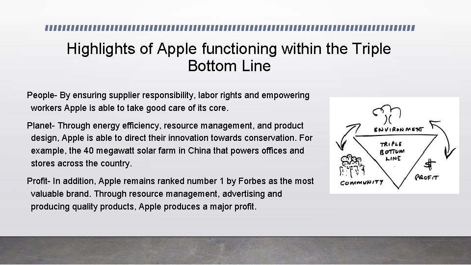 Highlights of Apple functioning within the Triple Bottom Line People- By ensuring supplier responsibility,