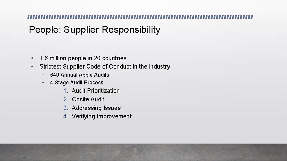People: Supplier Responsibility • • 1. 6 million people in 20 countries Strictest Supplier
