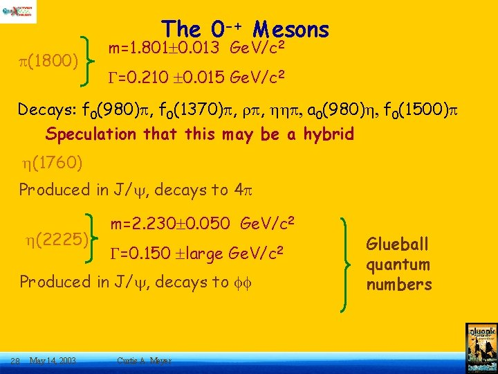 The 0 -+ Mesons (1800) m=1. 801 0. 013 Ge. V/c 2 G=0. 210
