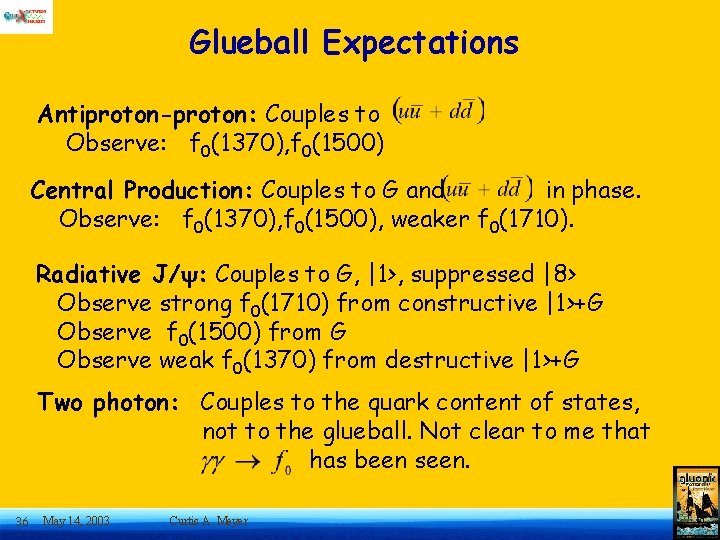Glueball Expectations Antiproton-proton: Couples to Observe: f 0(1370), f 0(1500) Central Production: Couples to