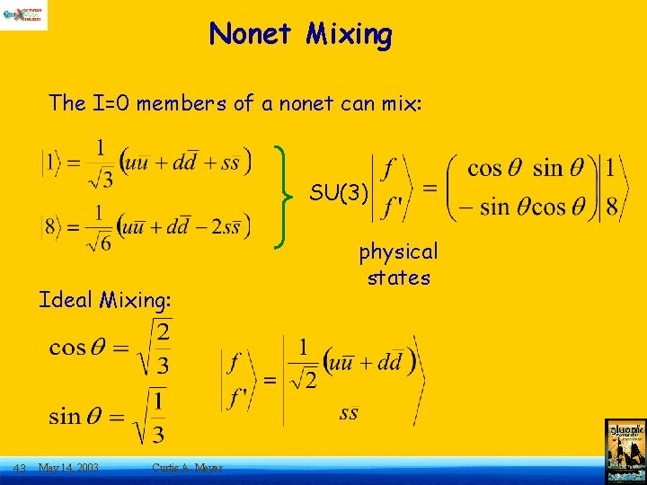 Nonet Mixing The I=0 members of a nonet can mix: SU(3) Ideal Mixing: 43