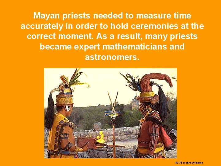Mayan priests needed to measure time accurately in order to hold ceremonies at the
