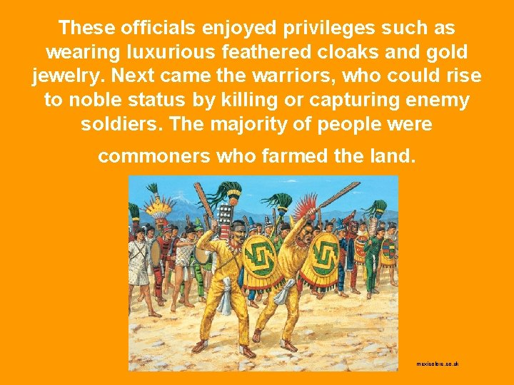 These officials enjoyed privileges such as wearing luxurious feathered cloaks and gold jewelry. Next