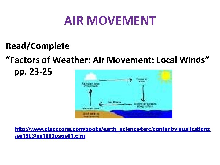 """AIR MOVEMENT Read/Complete """"Factors of Weather: Air Movement: Local Winds"""" pp. 23 -25 http:"""